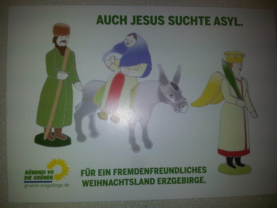 Postkarte: Jesus suchte Asyl