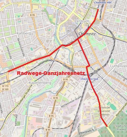 Radwege-Ganzjahresnetz. Quelle: Openstreetmaps.de