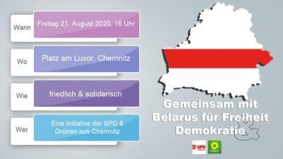 """Demonstration in Chemnitz – """"Gemeinsam mit Belarus für Freiheit & Demokratie"""" – am Freitag 21. August 2020 @ Luxor"""