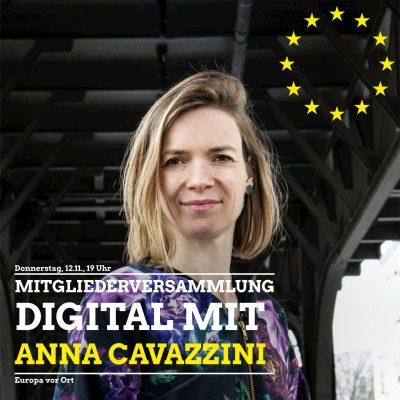 Digitale Mitgliederversammlung mit Europavortrag von Anna Cavazzini, MdEP @ Digital