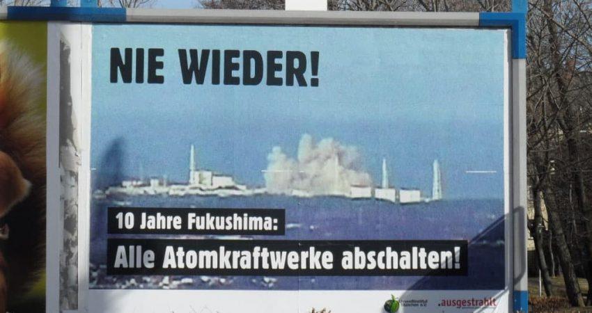 Fukushima-Plakat in der Reitbahnstraße